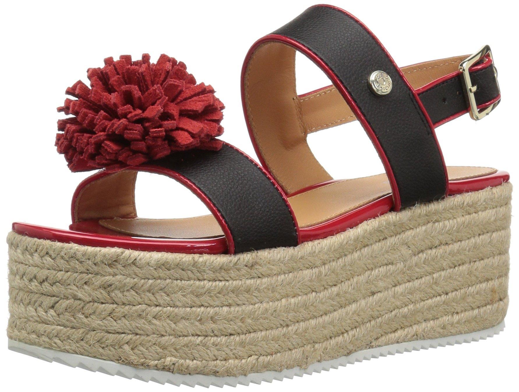Love Moschino Women's JA16107I15ID100A Sneaker, Black/Red, 39 M EU (8 US)