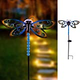 "Hannah's Cottage 27"" Decorative Dragonfly Garden Stake with Solar Lights,Metal Pathway Lights with Glass Globe Stake for Garden, Patio, Backyard and Outdoor Decorations (Green and Blue)"