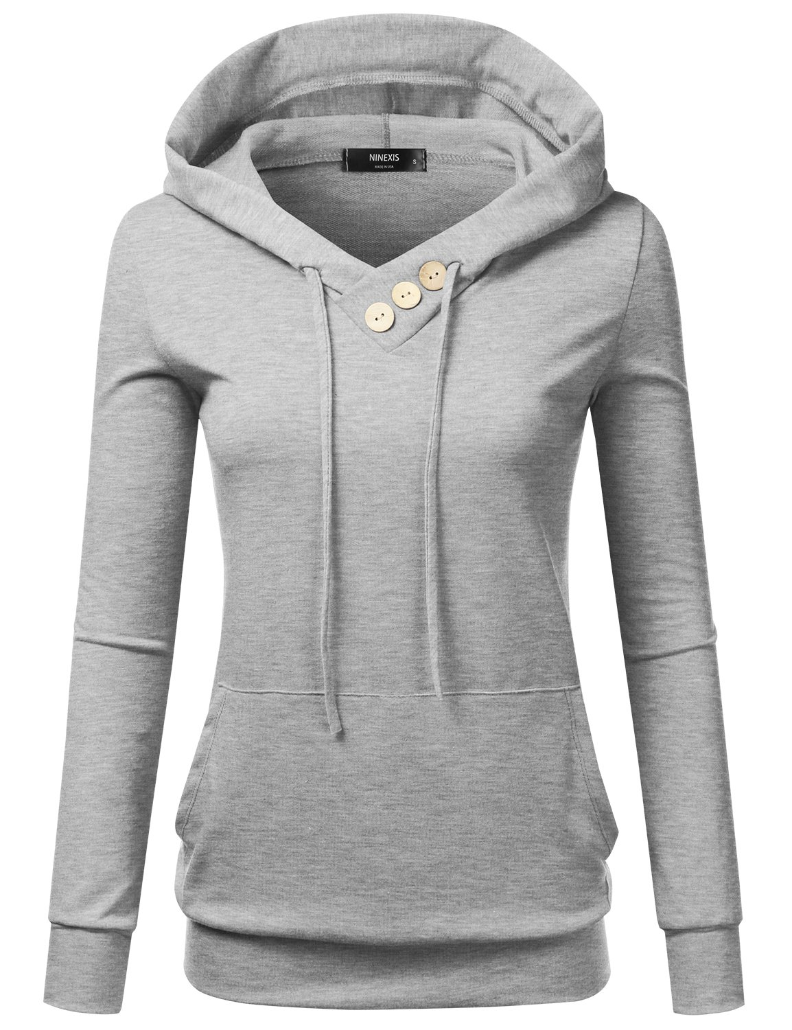 NINEXIS Women's Long Sleeve Button V-Neck Sweatshirts Pullover Hoodie HGREY 2XL