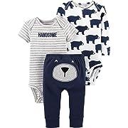 Carter's Baby Little Basics 3-Piece Set Bear Handsome,Navy/Heather Bears,3 Months