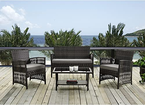 IDS Home 4 Piece Brown Pattio Furniture Wicker Conversation Set