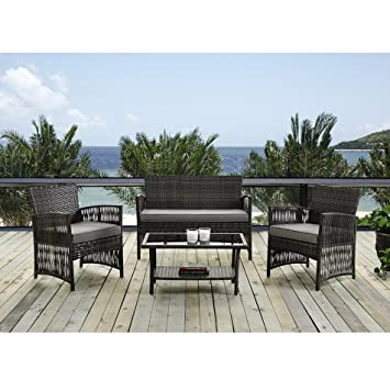 Patio Furniture Dining Set 4 PCS Garden Outdoor Indoor Furniture Set Rattan  Wicker Brown Cushion Cover