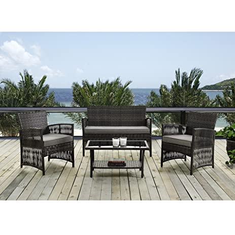 Amazon Patio Furniture Dining Set 4 PCS Garden Outdoor Indoor