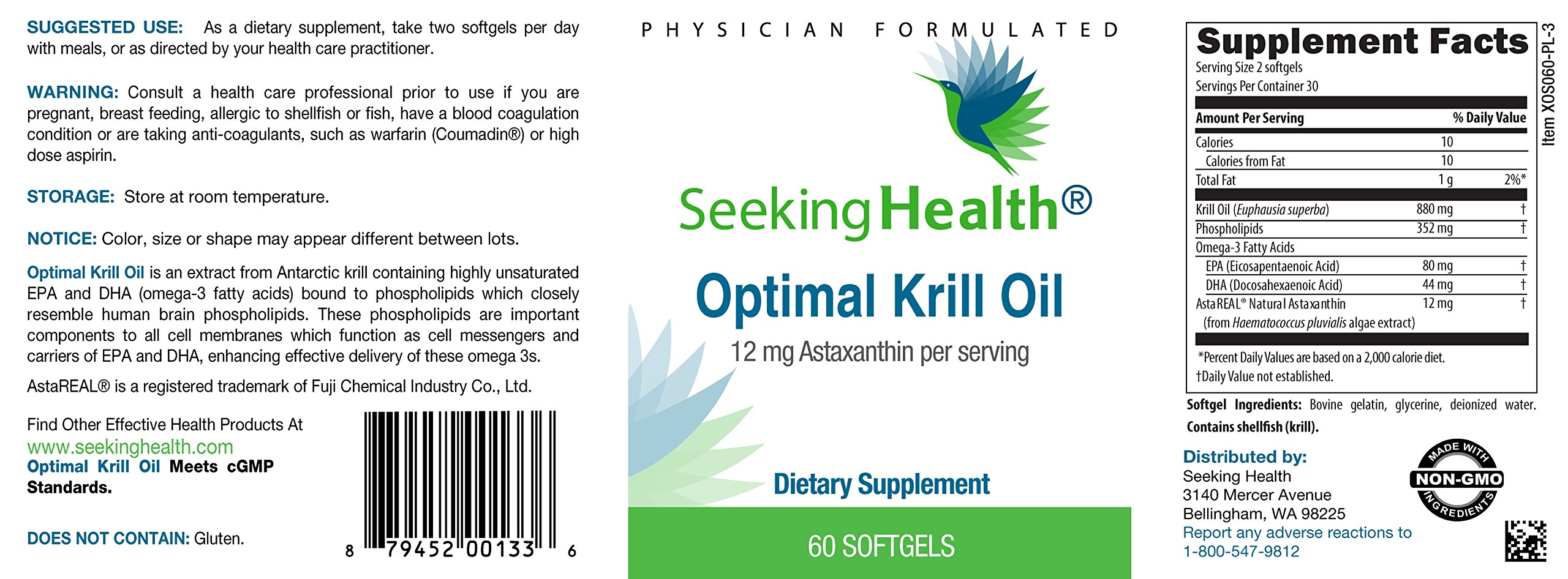 Optimal Krill Oil | 60 Capsules | Burp-Free | Lab Tested For Purity | Non -GMO | From The Pristine Antarctic Waters | Physician Formulated | Seeking Health