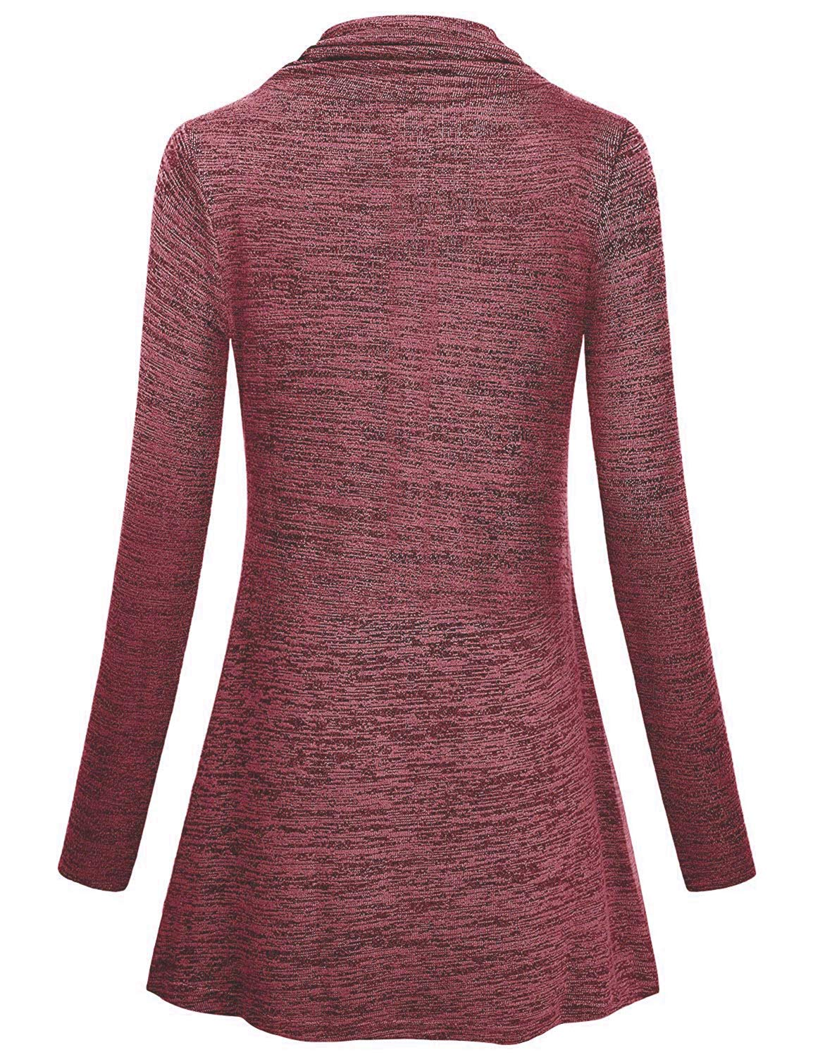 DIOLOCA Women Cowl Neck Tops Button Long Sleeve Plus Size Tunic Pullover Sweatshirt Casual Flowy Blouse Wine Red