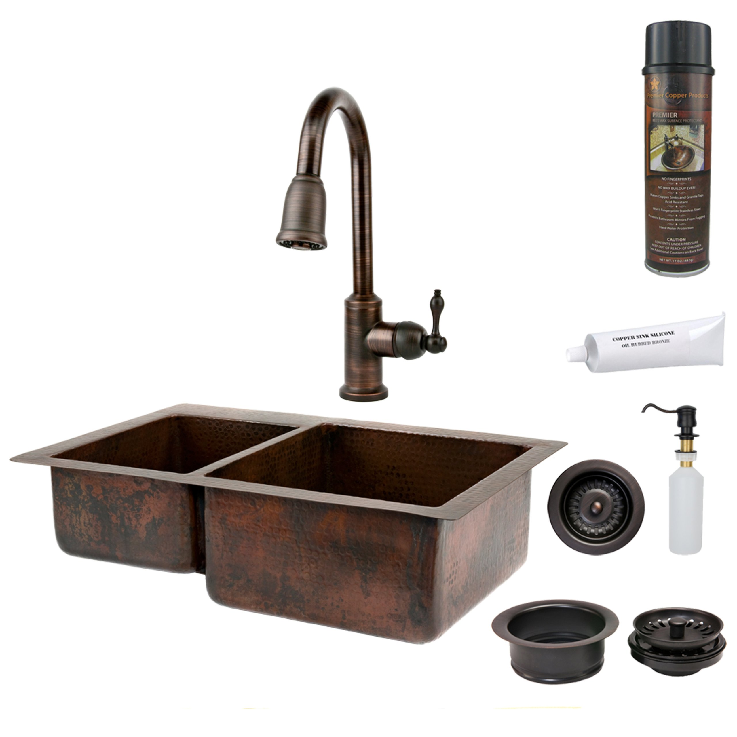Premier Copper Products KSP2_K40DB33229 33-Inch Hammered Copper Kitchen 40/60 Double Basin Sink with Pull Down Faucet, Oil Rubbed Bronze