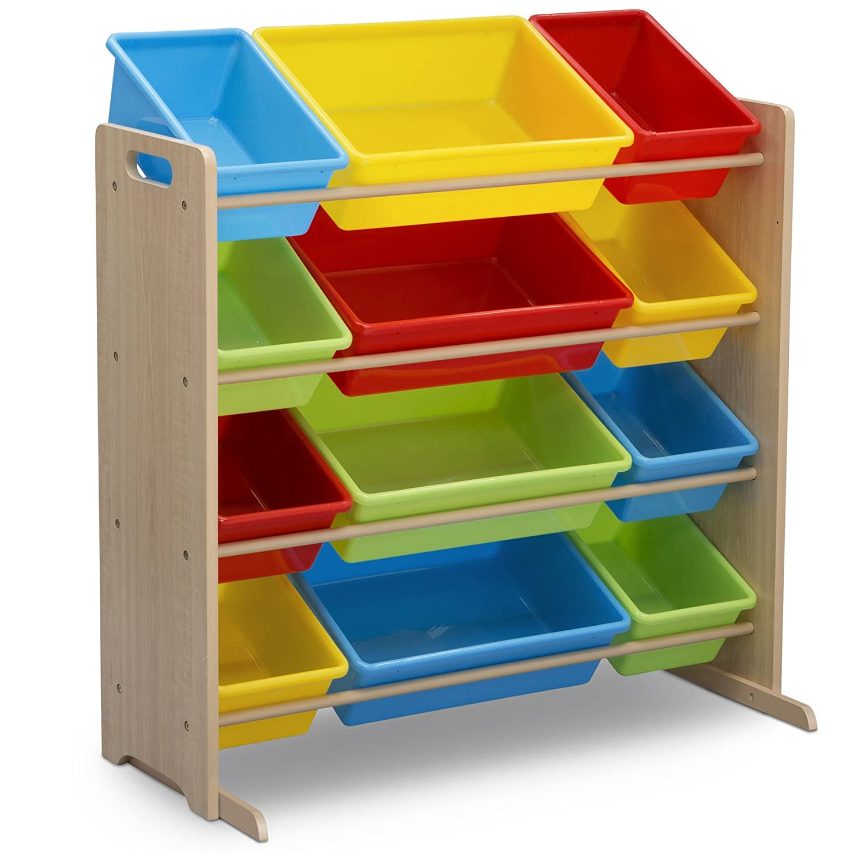 Delta Children Kids Toy Storage Organizer with 12 Plastic Bins, Natural/Primary