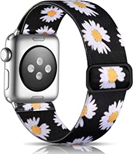 Getino Floral Band Compatible with Apple Watch 40mm 38mm Cute Adjustable Elastic Bands for Women Girls iWatch SE & Series 6 5 4 3 2 1, Daisy Flower Pattern