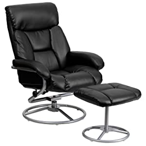 Flash Furniture Contemporary Multi-Position Recliner and Ottoman with Metal Base in Black Leather