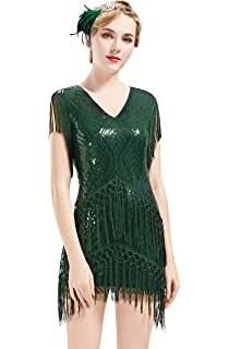 b76f4d4e466 BABEYOND 1920s Flapper Dress Long Fringed Gatsby Dress Roaring 20s Sequins Beaded  Dress Vintage Art Deco