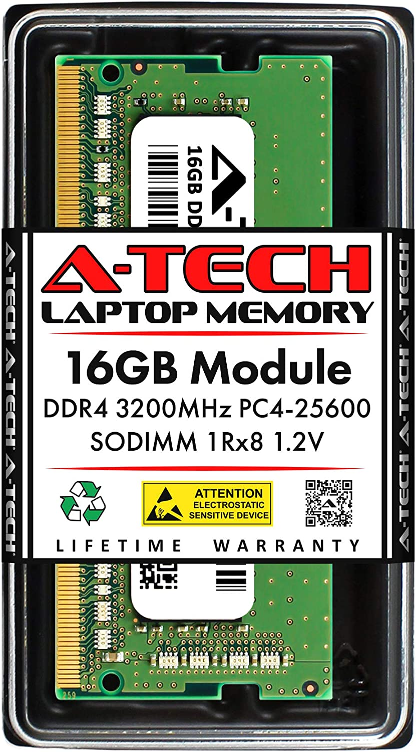 A-Tech 16GB Memory RAM for Dell Inspiron 15 5000 5505 - DDR4 3200MHz PC4-25600 Non ECC SO-DIMM 1Rx8 1.2V - Single Laptop & Notebook Upgrade Module (Replacement for AB371022)