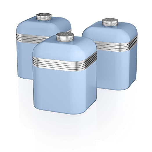 Blue Kitchen Canisters | Swan Swka1020bln Set Of 3 Retro Storage Canisters Blue Amazon Co