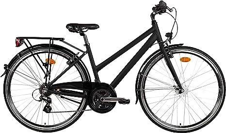 Bicicleta de trekking mujer 28 Aluminio 21 velocidades dinamo de ...