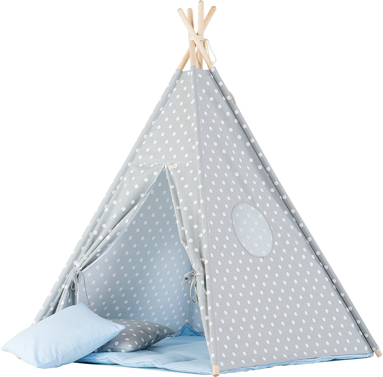 wigiwama Dots grau Teepee mit Baby blau Matte