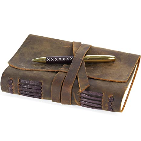 78a2f0dd6810 Leather Journal Travel Diary, Handmade Vintage Writing Bound Notebook For  Men For Women Antique Soft Rustic Leather 5 x 7 - Quality Unlined Paper  Best ...