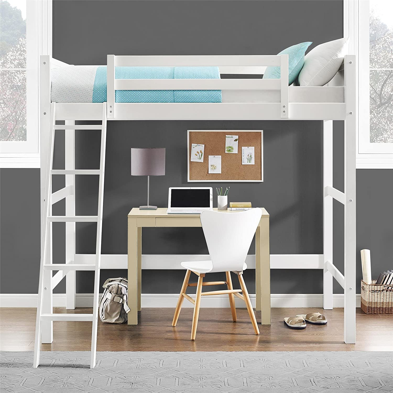 Advantages And Drawbacks Of Strong Wooden Loft Bed With Stairs Amazon.com: Dorel Living Wood Loft Style Bunk Bed, Twin: Kitchen u0026 Dining