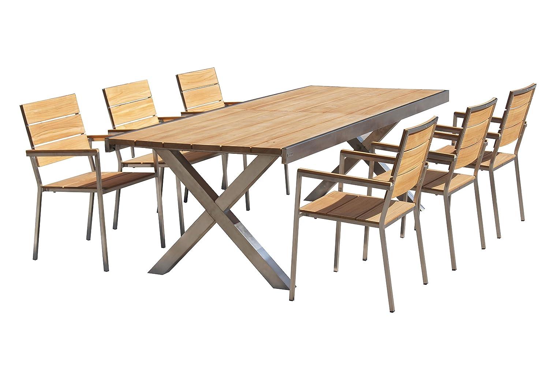 outflexx sitzgruppe natur edelstahl teak tisch 245 300x100cm 6 stapelst hle bestellen. Black Bedroom Furniture Sets. Home Design Ideas