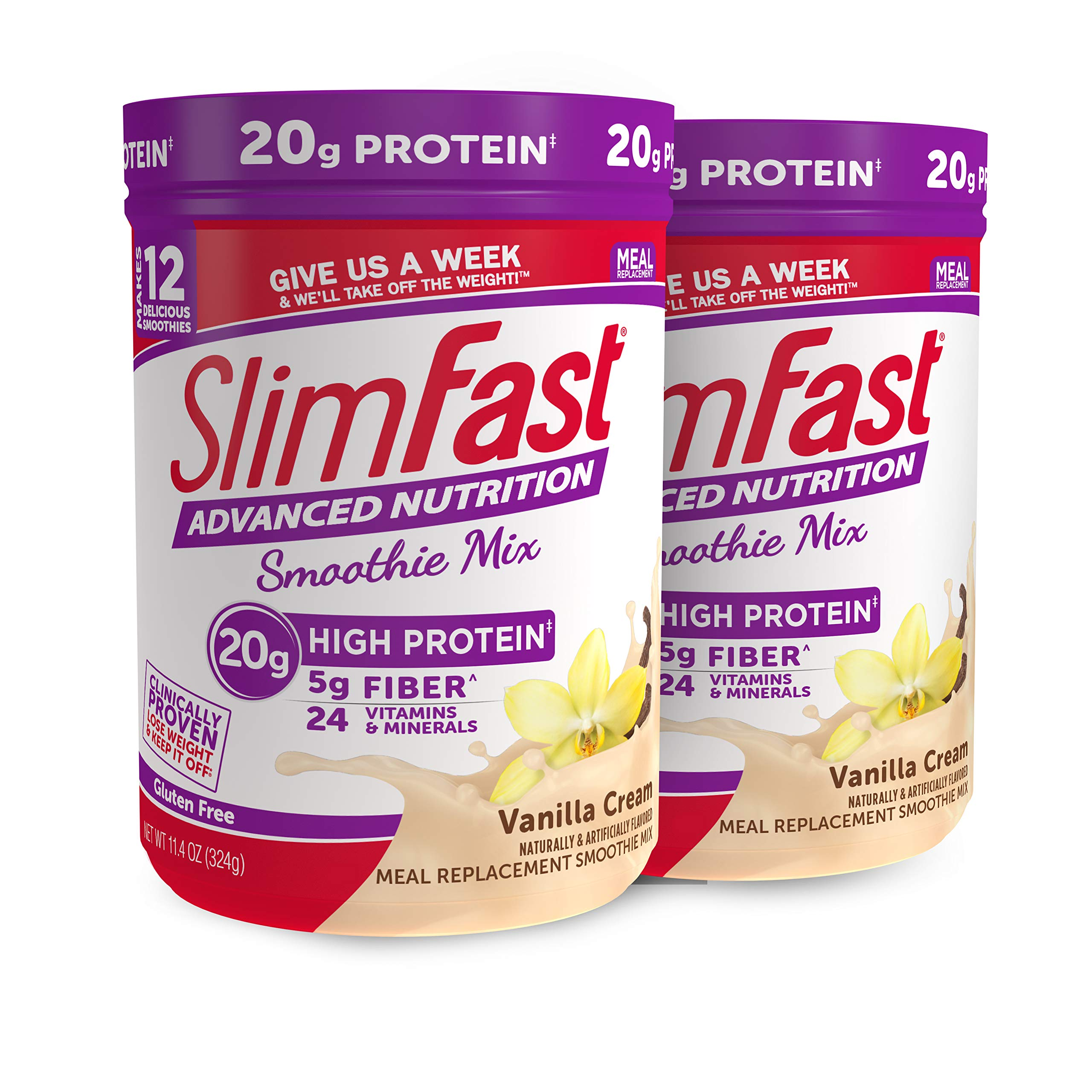 SlimFast Advanced Nutrition Vanilla Cream Smoothie Mix - Weight Loss Meal Replacement - 20g of protein - 11.01 oz. Canister - 12 servings Pack of 2 by SlimFast