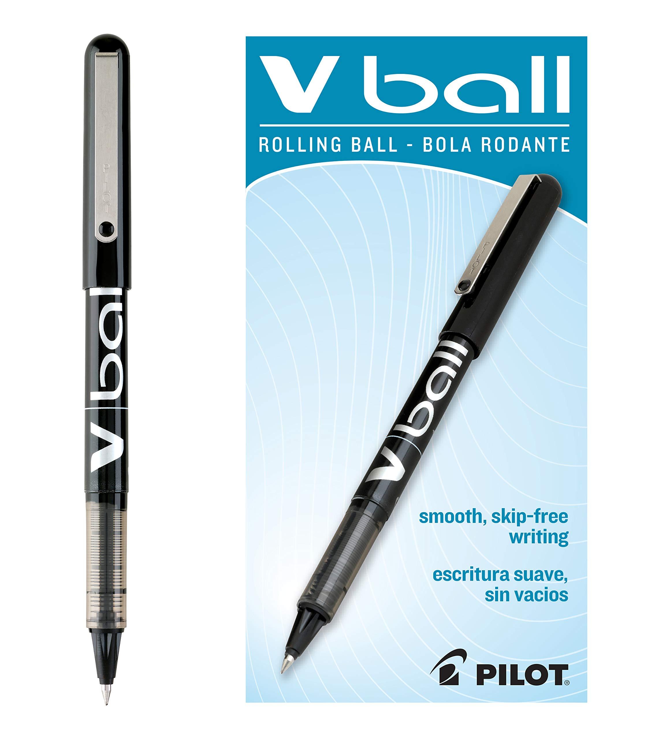 Pilot VBall Liquid Ink Stick Rolling Ball Pens, Extra Fine Point, Black Ink, Dozen Box (35200)