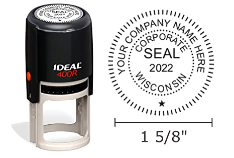 Amazon Wisconsin Corporate Seal Stamp Ideal 400R Round 1 5 8