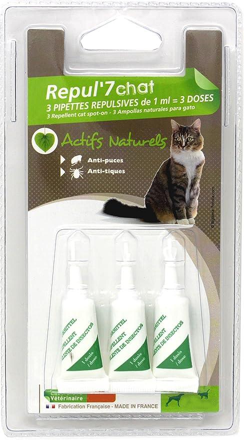 Pipetas répulsives AU Geraniol anti tiques y anti pulgas para gatos x 3 pipetas