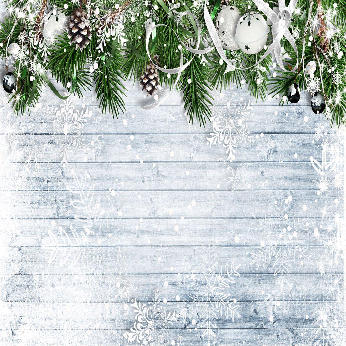 ケイト10 x 10ftクリスマスフォトスタジオ背景木製壁withホワイト雪写真小道具の背景にクリスマスツリーベル写真ブース小道具   B07FSCMXY8