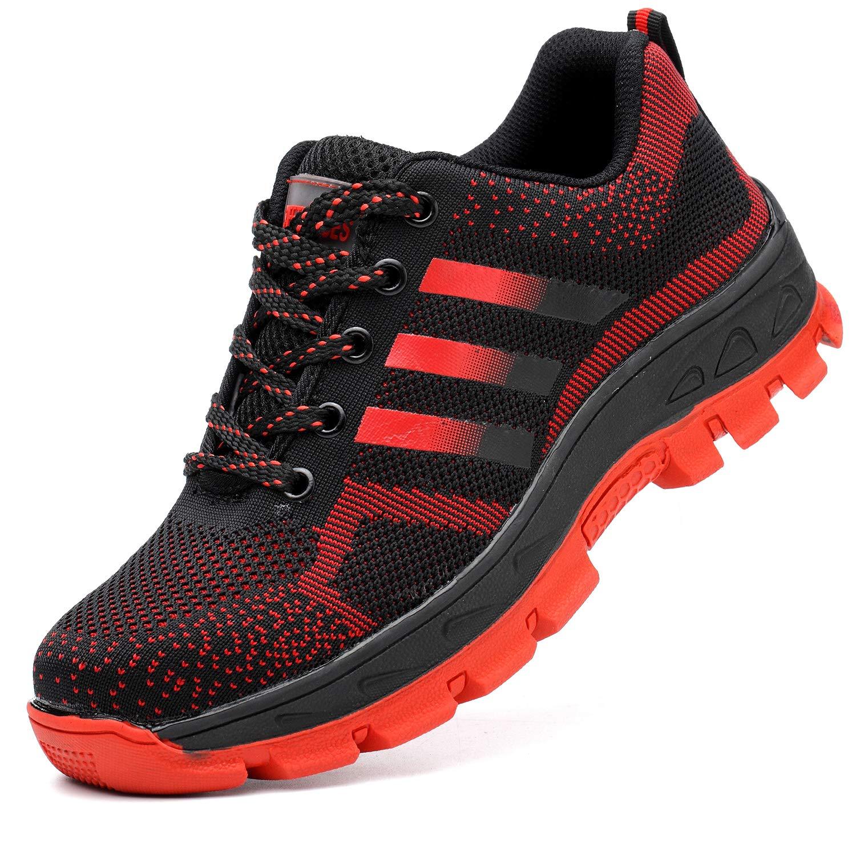 COOU Chaussure de Sécurité Sécurité Sécurité s3 Respirant Chaussures de Travail avec Embout de Protection en Acier Et Semelle de Protection Unisexes 37 EU Style 512 : Red1 55c41f