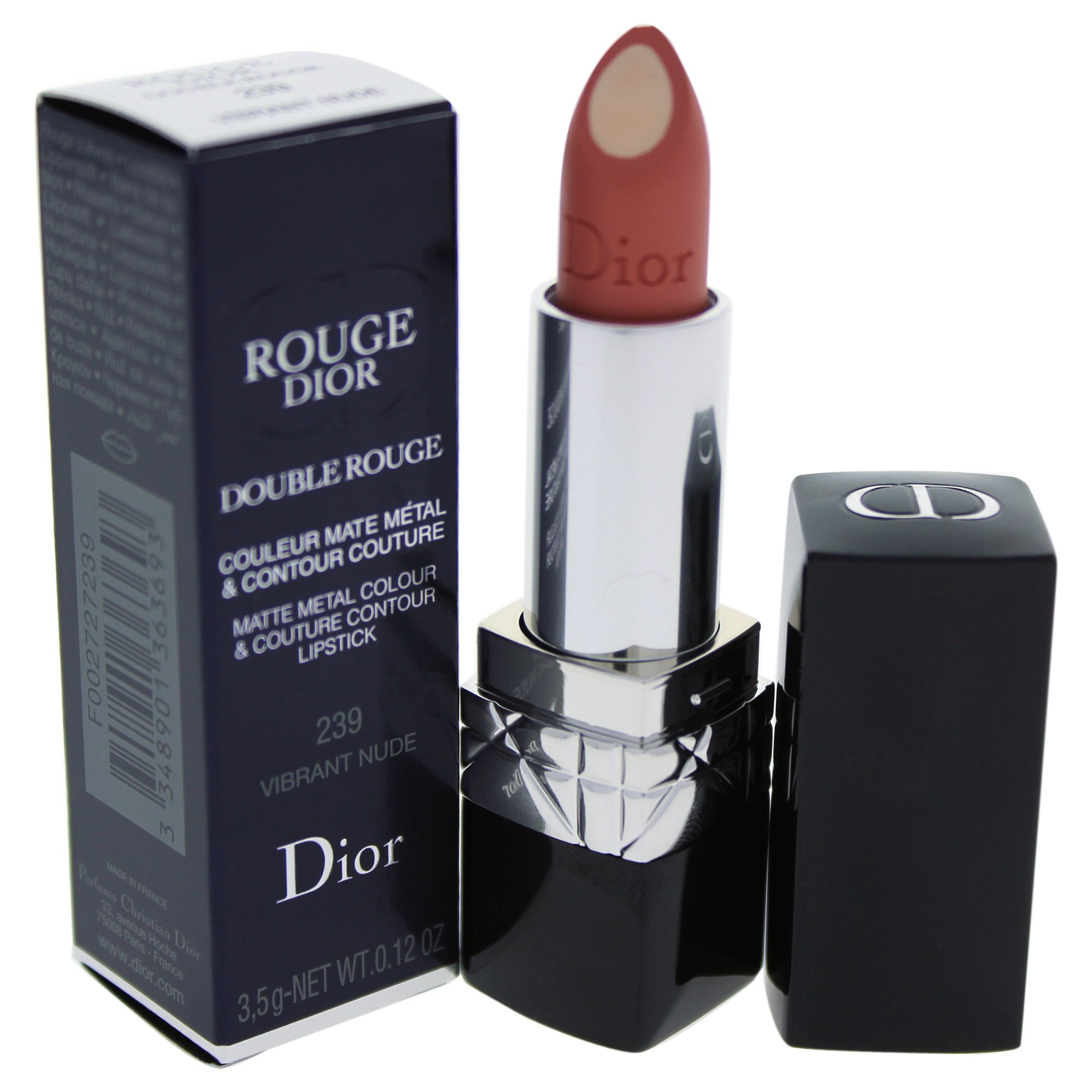 Christian Dior Double Rouge Matte Metal Color Lipstick for Women, Vibrant Nude, 0.12 Ounce