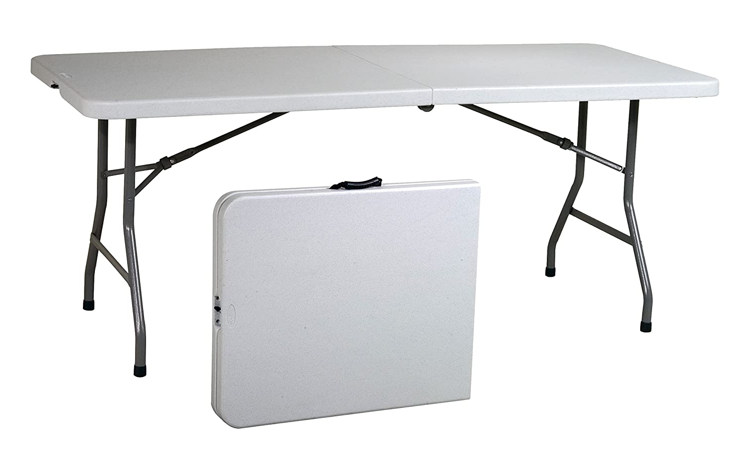 Office Star Resin Multipurpose Rectangle Table, 6-Feet, Center Folding
