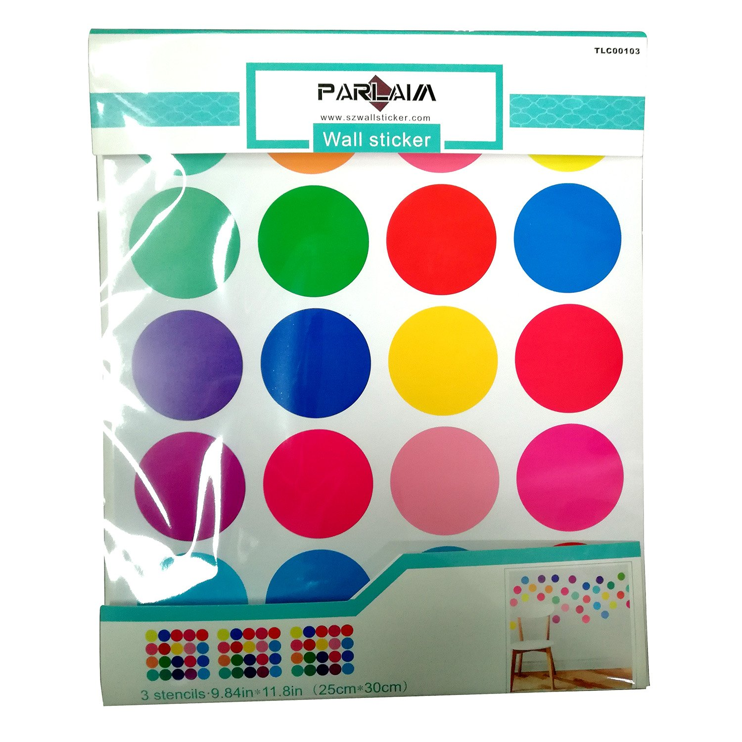 PARLAIM 0103 Rainbow of Colors Polka Dot Wall Decals Multicolor,2 inch x 60 Circles TianLiCheng Peel and Stick Wall Stickers with Gift Packaging for Kids Room,Living Room,Bedroom