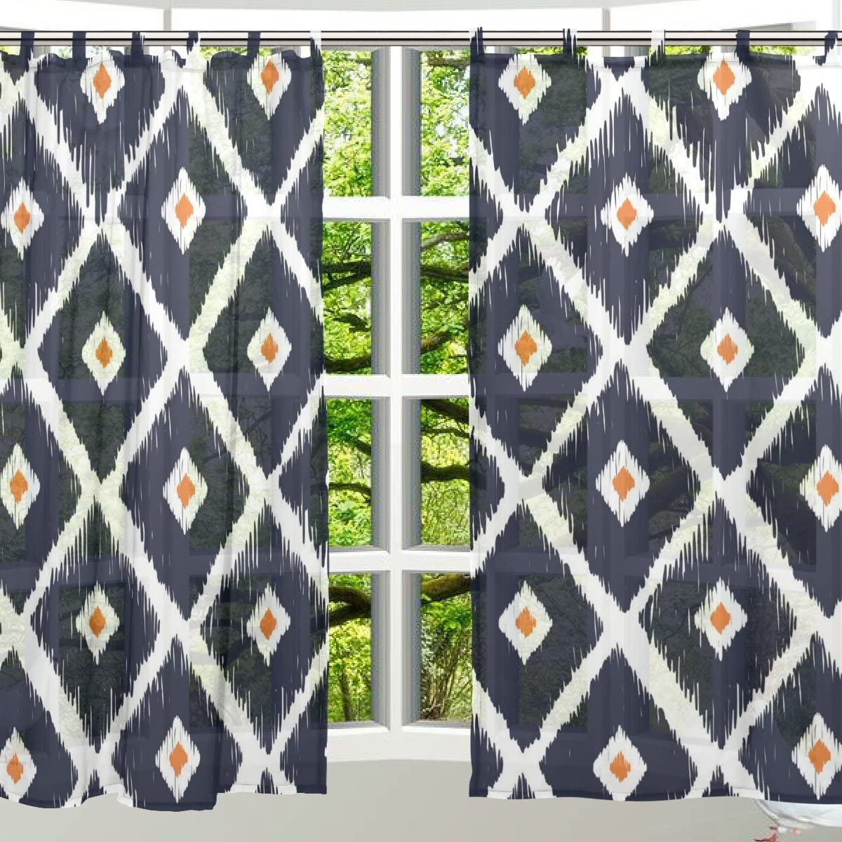 ALAZA Window Decoration Sheer Curtain Panels,Vintage Ethnic African Aztec Tribal Pattern,Door Window Gauze Curtains Living Room Bedroom Kid s Office Window Tie Top Curtain 55×78 inch Two Panels Set