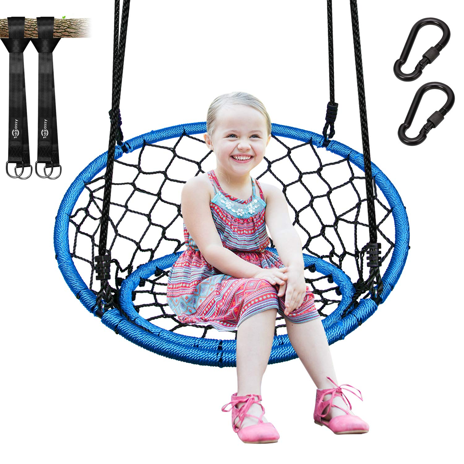 Trekassy 440lb Spider Web Chair Swing 35 Inch for Adults Kids with 2 Tree Hanging Straps and Adjustable Ropes by Trekassy