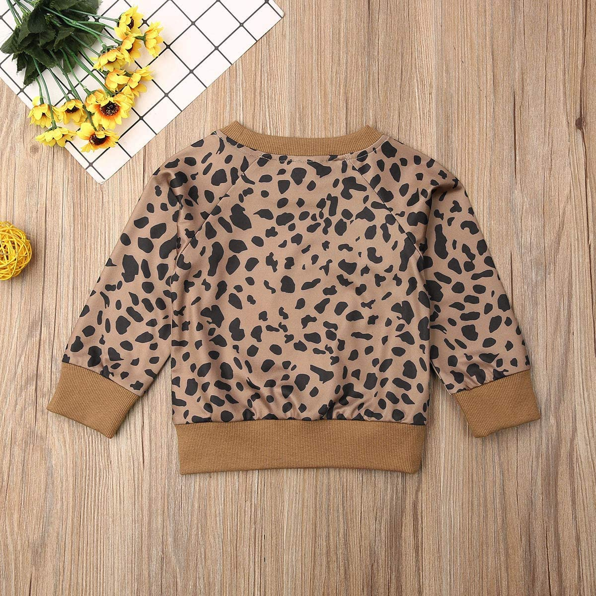 BOEBNOZCV Toddler Baby Girls Boy Leopard Print Sweater Long Sleeve Pullover Tops Blouse Sweatshirt Autumn Clothes