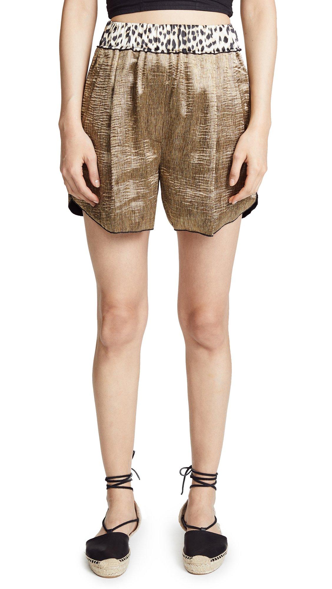 Giada Forte Women's Polished Diagonal Shorts, Oro, 2