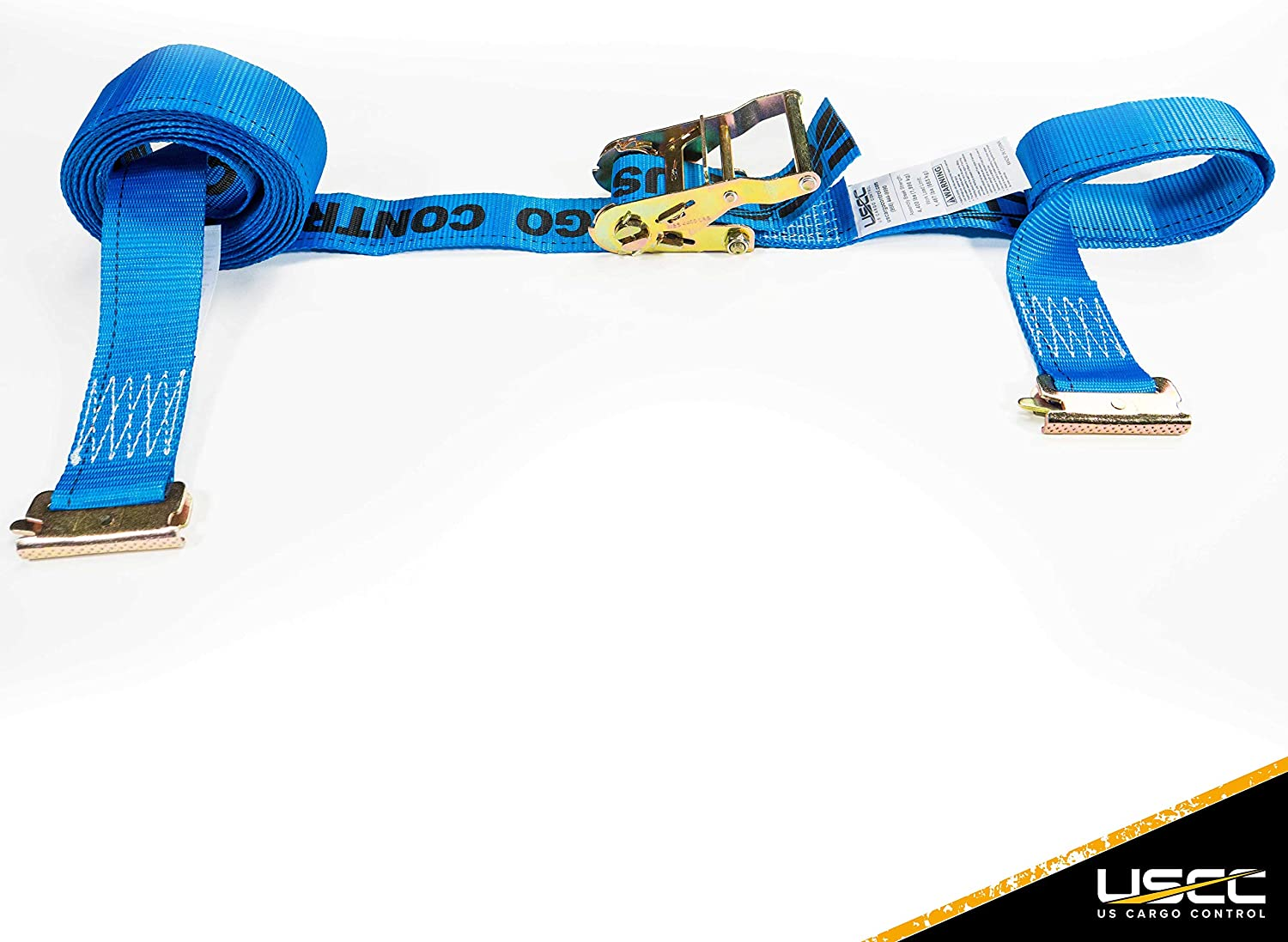 US Cargo Control 2 Inch x 20 Foot Blue E Track Ratchet Strap with Spring E-Fittings 10 Pack - Ratchet Tie Downs -
