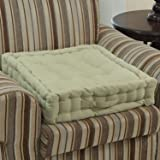Homescapes Sage Green Supportive Armchair Booster Cushion with Breathable Luxury Soft to Touch 100% Cotton Cover