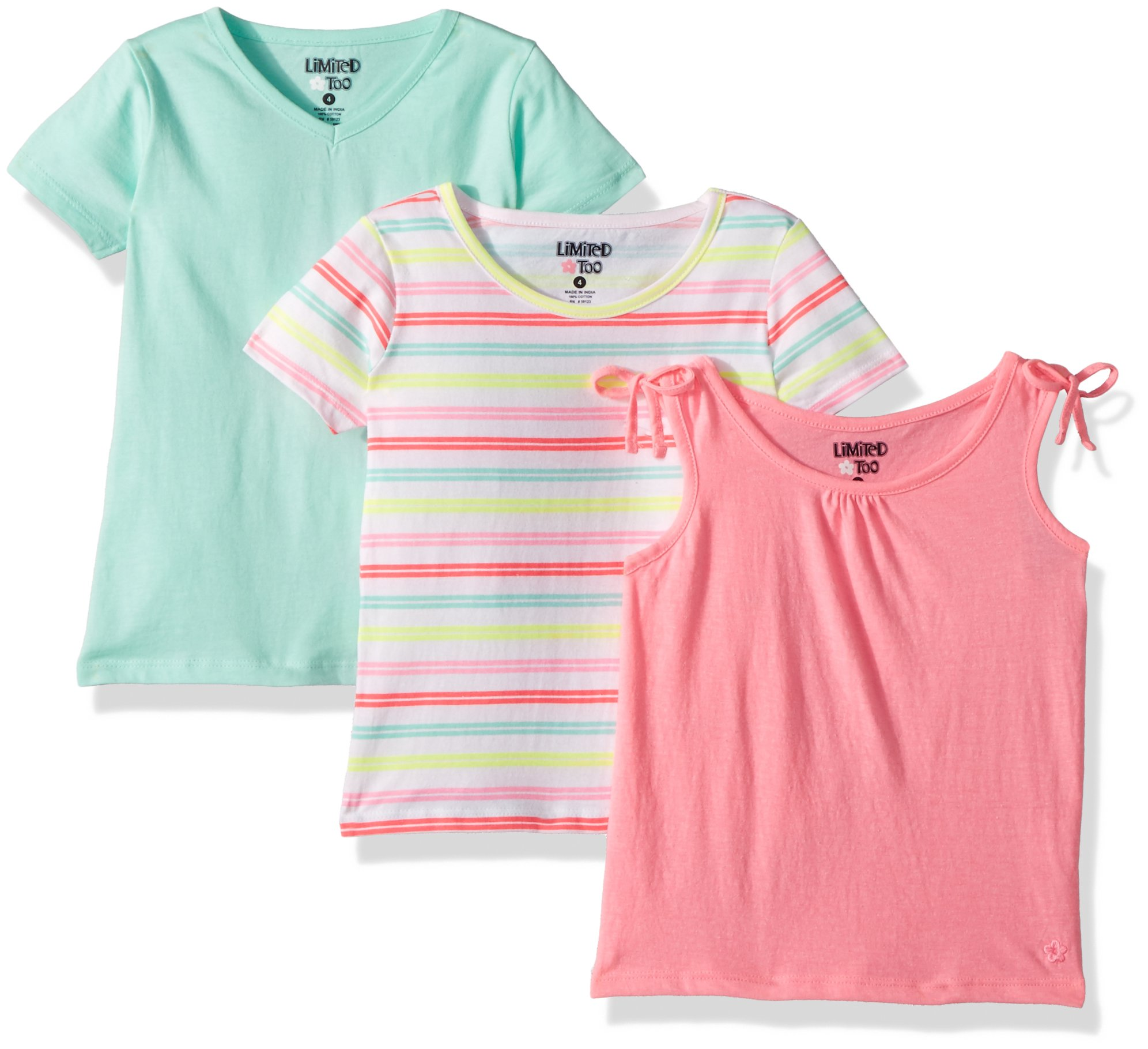 Limited Too Big Girls' 3 Pack T-Shirt, Clinched Light Pink Tank Stripes Solid Multi Print, 7/8
