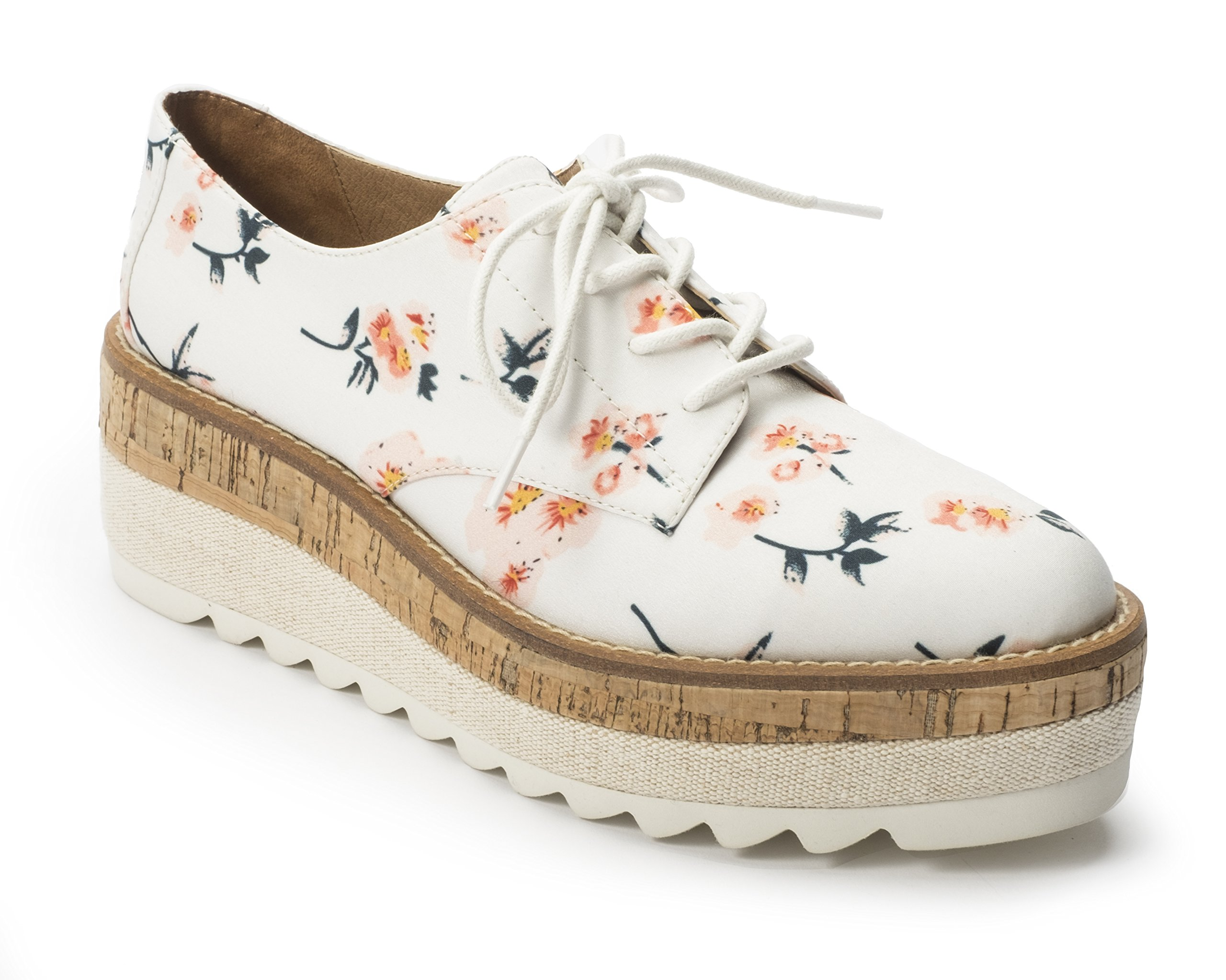 Jane and the Shoe Women's Jasmin White Floral Platform Oxford Size 8