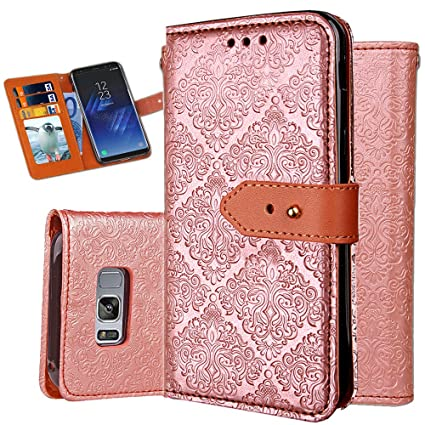 best sneakers a0107 1b71f S8 Case,Galaxy S8 Wallet Case,Auker Shockproof Vintage Flip Leather Book  Design Folio Flop Folding Stand Purse Cover with Card Holder&Hidden Pocket  ...