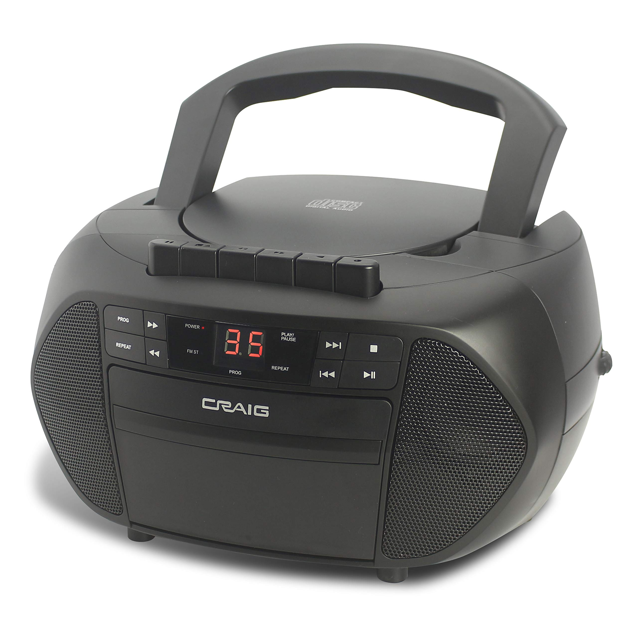 Craig Electronics - Bluetooth CD Boombox with AM/FM Stereo Radio and Cassette Player/Recorder