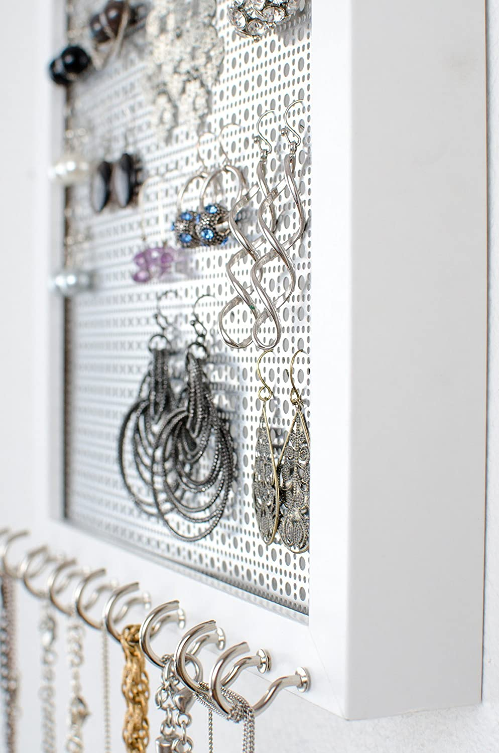 Hanging Earring & Necklace Organizer - 8x10 White Frame - Metal Screen - Necklace Hooks