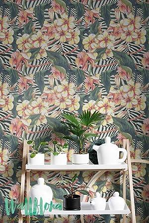 Hibiscus Et Zebre Fond Imprime Papier Peint Papier Peint