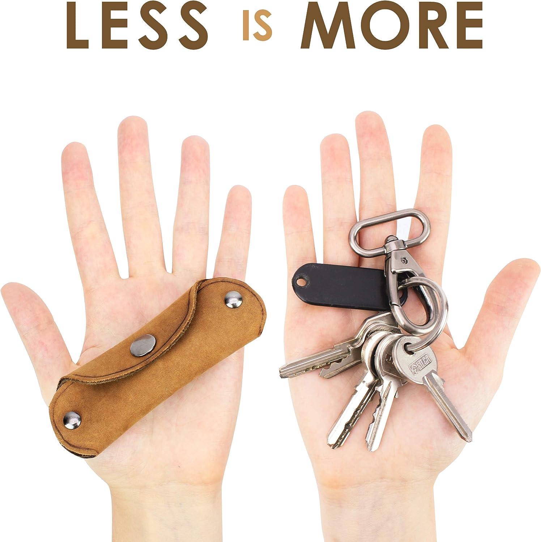 Organizador de Llaves de Piel Vintage para Hombre 1-10 Llaves en Caja de Regalo 100/% Cuero Aut/éntico de B/úfalo CURVAN Llavero Porta-Llaves Compacto Leather Compact Key-Smart Holder Azul
