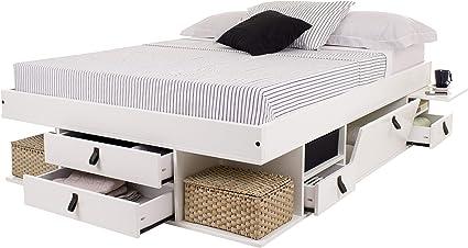 Cama Funcional Bali 140x190 cm Blanco - Estructura con Mucho Espacio de almacenaje y cajones, Ideal para dormitorios pequeños - Madera Maciza de Pino ...