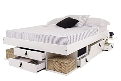 Funktionsbett Bali 140x200 - Bett mit viel Stauraum und Schubladen, optimal  für kleine Schlafzimmer - Modernes Stauraumbett aus Kiefer Massivholz ...