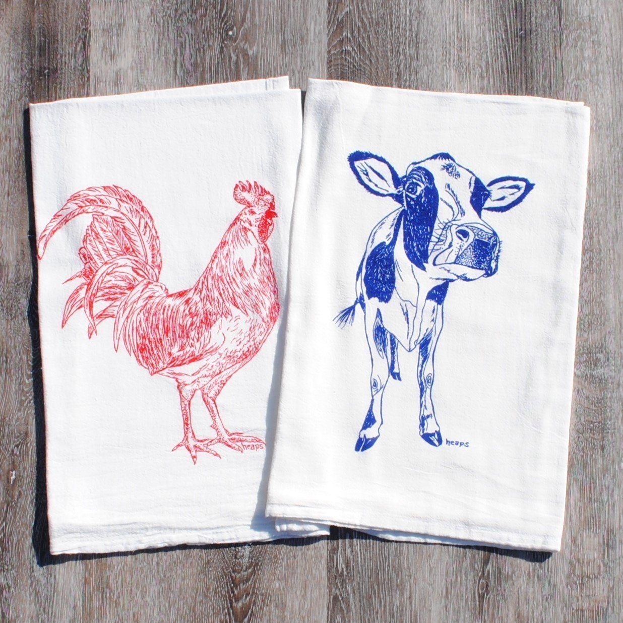 Kitchen Towels Set of 2 - 100% Cotton Flour Sack - 26