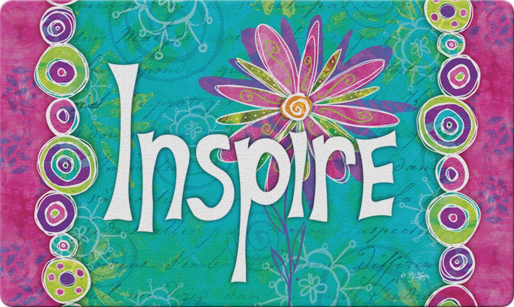 Toland Home Garden Inspire 18 x 30 Inch Decorative Floor Mat Colorful Flower Inspirational Doormat