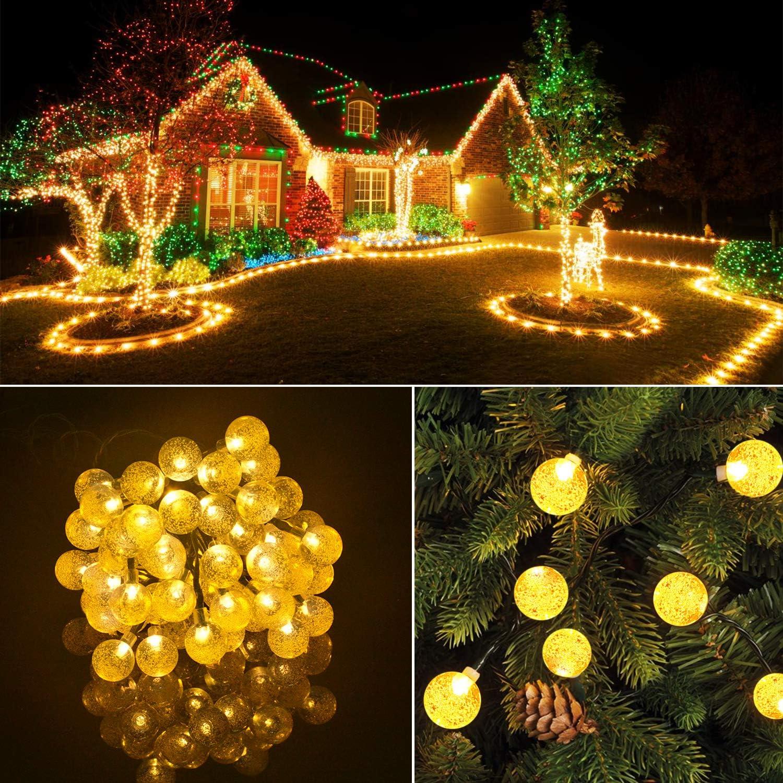 Haus etc Warmes Wei/ß Hochzeit Solar Lichterkette-Mr.Twinklelight 2 St/ück 4.5M 30 LED Lichterkette Au/ßen Kristall Kugeln Lichterkette f/ür Garten Weihnachten Party