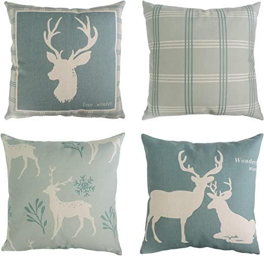 Amazon Com Bleum Cade Set Of 4 Decorative Throw Pillow Covers Cushion Couch Pillow Cover 100 Cotton Linen Deer Pattern For Home Office Car Sofa 18x18 Inches 45x45 Cm Home Kitchen