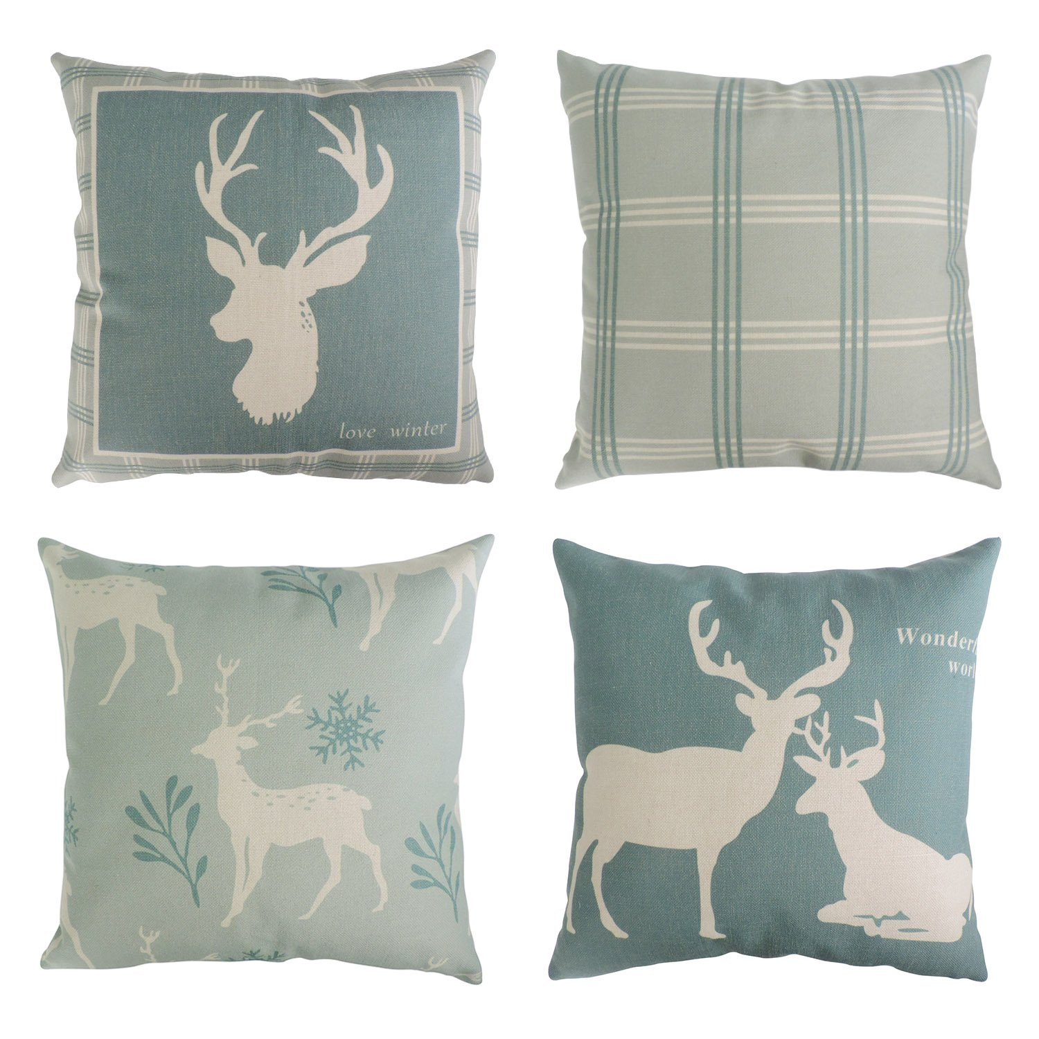 BLEUM CADE Set of 4 Decorative Throw Pillow Covers Cushion Couch Pillow Cover 100% Cotton Linen Deer Pattern for Home Office Car Sofa